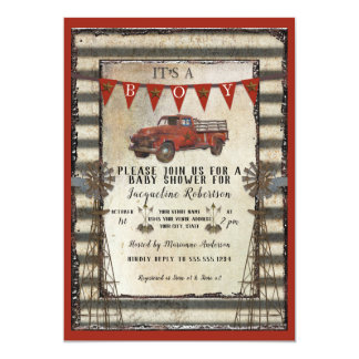 Vintage Red Truck Rustic Farmhouse Boy Baby Shower Card