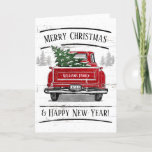 """Vintage Red Truck with Christmas Tree Family Holiday Card<br><div class=""""desc"""">This personalized rustic holiday folded card features a vintage red truck with a Christmas tree. It reads """"Merry Christmas & Happy New Year!"""" Customize with your family name and year in a modern white font. Inside of the card has a greeting which you may leave as is or customize. Designed...</div>"""