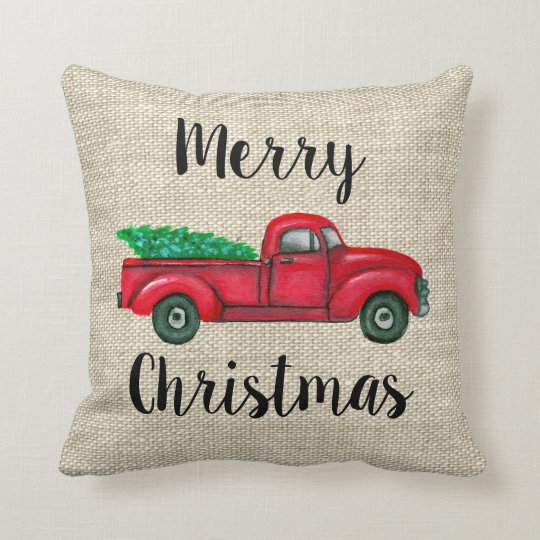 Old Truck With Christmas Tree Painting.Vintage Red Truck With Christmas Tree Pillow