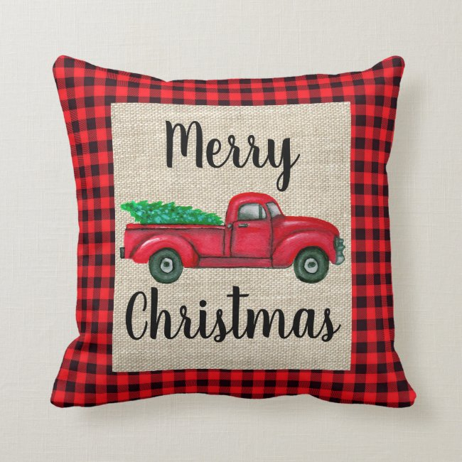 Vintage Red Truck With Christmas Tree Plaid Pillow