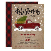 Vintage Red Truck With Christmas Tree Retro Party Invitation