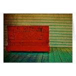 Vintage Red Trunck on Porch Greeting Card