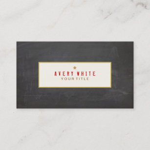 Typewriter font business cards templates zazzle vintage red typewriter font black chalkboard business card reheart Gallery