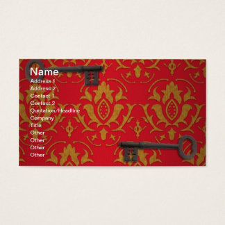 Vintage Red Wallpaper and Keys Business Card