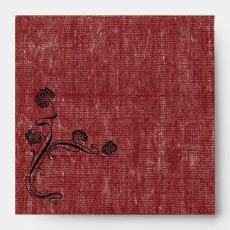 Vintage Red Wedding Envelope