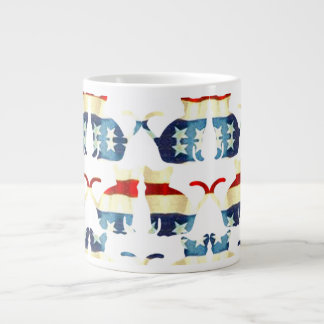 VINTAGE RED WHITE AND BLUE CAT PATTERN 20 OZ LARGE CERAMIC COFFEE MUG