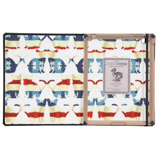 VINTAGE RED WHITE AND BLUE CAT PATTERN iPad FOLIO CASES