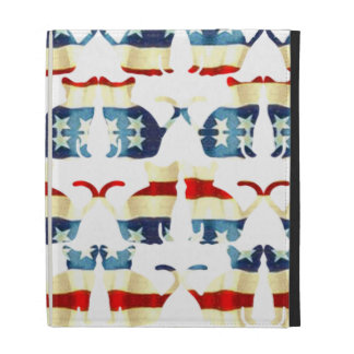 VINTAGE RED WHITE AND BLUE CAT PATTERN iPad FOLIO COVER