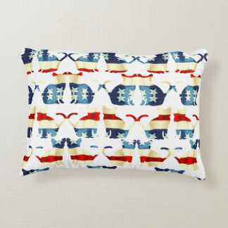 VINTAGE RED WHITE AND BLUE CAT PATTERN DECORATIVE PILLOW