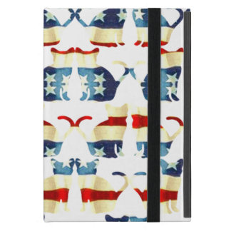 VINTAGE RED WHITE AND BLUE CAT PATTERN iPad MINI CASES