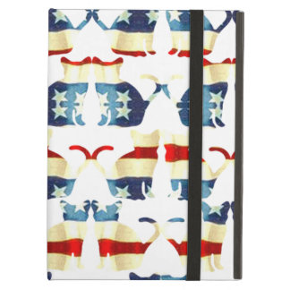 VINTAGE RED WHITE AND BLUE CAT PATTERN CASE FOR iPad AIR