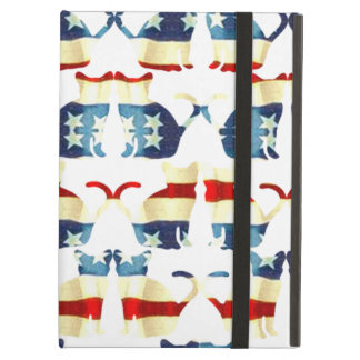 VINTAGE RED WHITE AND BLUE CAT PATTERN COVER FOR iPad AIR