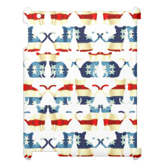 VINTAGE RED WHITE AND BLUE CAT PATTERN iPad CASE