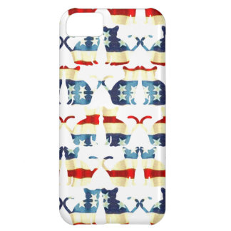 VINTAGE RED WHITE AND BLUE CAT PATTERN iPhone 5C COVER