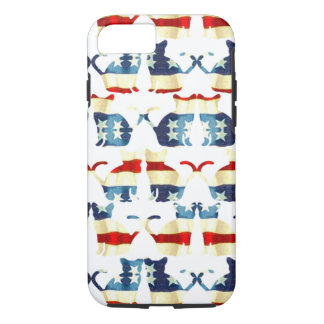 VINTAGE RED WHITE AND BLUE CAT PATTERN iPhone 8/7 CASE