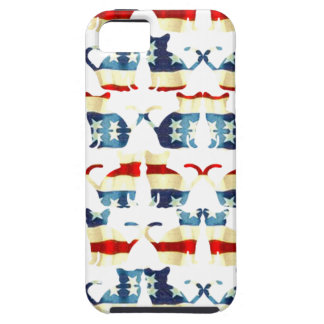 VINTAGE RED WHITE AND BLUE CAT PATTERN iPhone SE/5/5s CASE