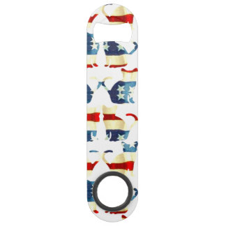 VINTAGE RED WHITE AND BLUE CAT PATTERN SPEED BOTTLE OPENER