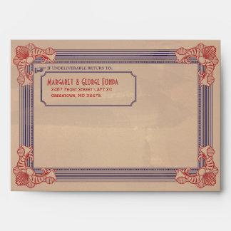 Vintage Red White & Blue Customizable A7 Envelopes