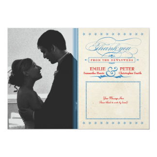 Vintage Red, White & Blue Photo Thank You Card