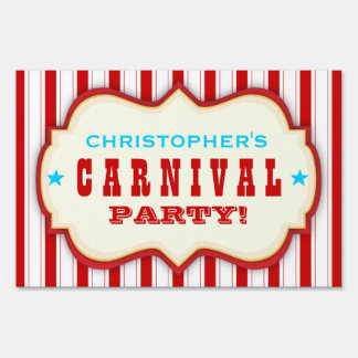 Vintage Red White Carnival Party Yard Sign