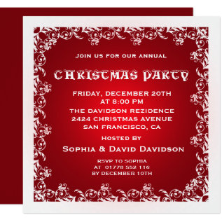 Vintage Red White Christmas Party Invitation at Zazzle