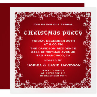 Vintage Red White Christmas Party Invitation