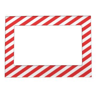Vintage Red White Girly Stripes Pattern Magnetic Photo Frame