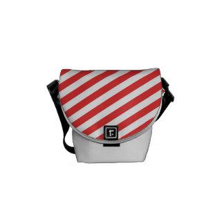 Vintage Red White Girly Stripes Pattern Messenger Bag