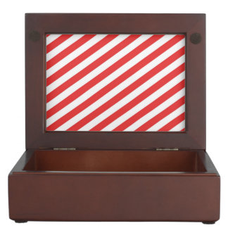 Vintage Red White Girly Stripes Pattern Keepsake Boxes
