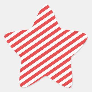 Vintage Red White Girly Stripes Pattern Star Sticker