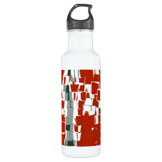 Vintage Red White Retro Painting Abstract Art Water Bottle