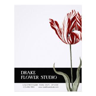 Vintage Red White Tulip Florist Letterhead