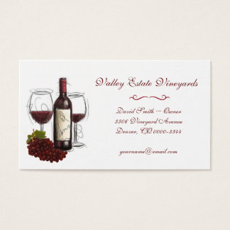 Vintage Red Wine Grape Business Card