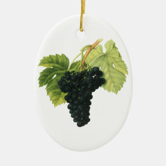 Vintage Red Wine Organic Grape Cluster, Food Fruit Ceramic Ornament