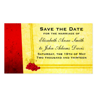 Vintage Red Wine Save the Date Card Double-Sided Standard Business Cards (Pack Of 100)