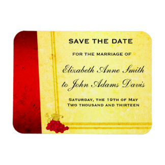 Vintage Red Wine Save the Date Magnet