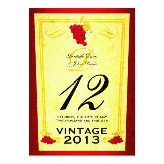 Vintage Red Wine Table Number Cards
