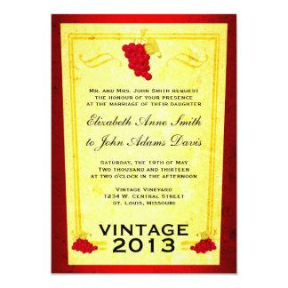 Vintage Red Wine Wedding Invitation