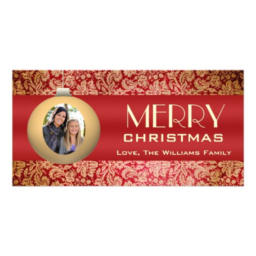 Vintage Red with Gold Ornament Photo Card