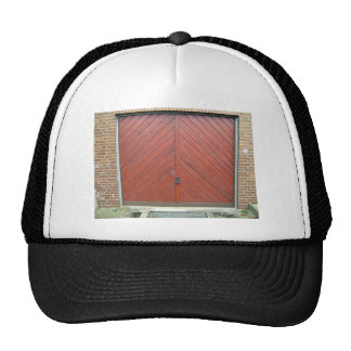 Vintage Red Wooden Door in Brick Wall Trucker Hats