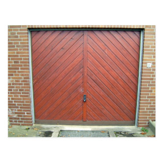 Vintage Red Wooden Door in Brick Wall Postcard