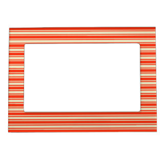 Vintage Red Yellow Chic Stripes Pattern Magnetic Frames