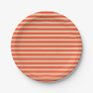 Vintage Red Yellow Chic Stripes Pattern Paper Plate