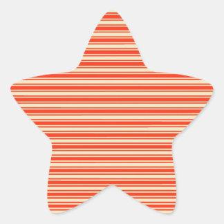 Vintage Red Yellow Chic Stripes Pattern Star Sticker