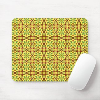 Vintage Red Yellow Ottoman Turkish Tulip Pattern M Mouse Pad