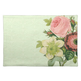 Vintage Redoute Floral Rose Anemone Clematis Place Mat