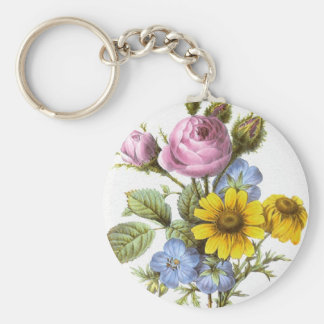 Vintage Redoute Flower Bouquet Keychain