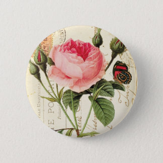 Vintage Redoute Rose Pinback Button