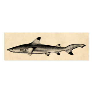 Vintage Reef Shark Illustration - Black Tipped Double-Sided Mini Business Cards (Pack Of 20)