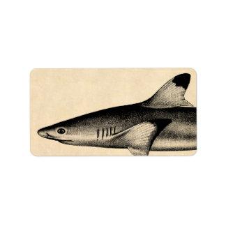 Vintage Reef Shark Illustration Black Tipped Address Label